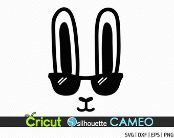 f6f080688f28 Bunny face Svg Easter bunny svg Boy Easter Svg files for Cricut Silhouette  Cameo Rabbit Svg Easter Shirt Svg Bunny with glasses Svg Dxf Png