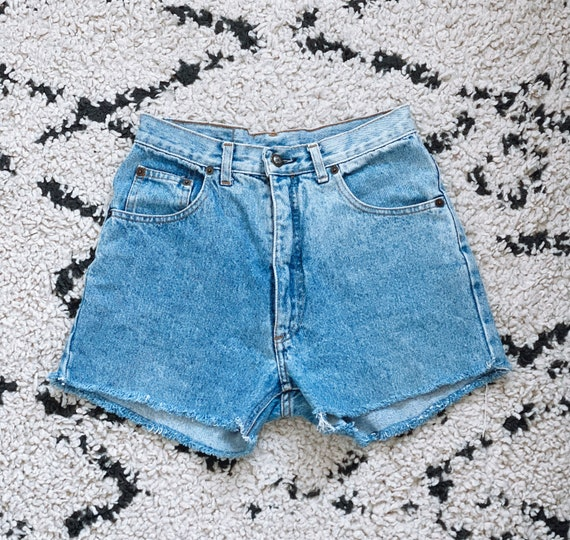 Vintage light Blue High Waisted denim shorts 26""