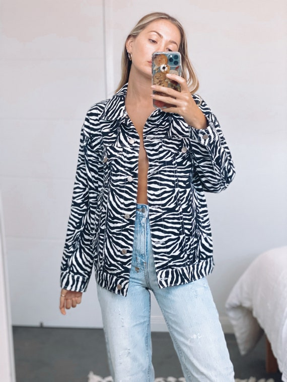 Zebra print 90s vintage denim jacket