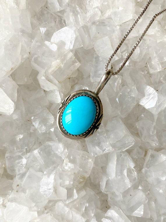 Gemstone pendant 1980/'s Antique Vintage turquoise Gemstone pendant Natural turquoise  pendant silver gemstone pendant Vintage pendant