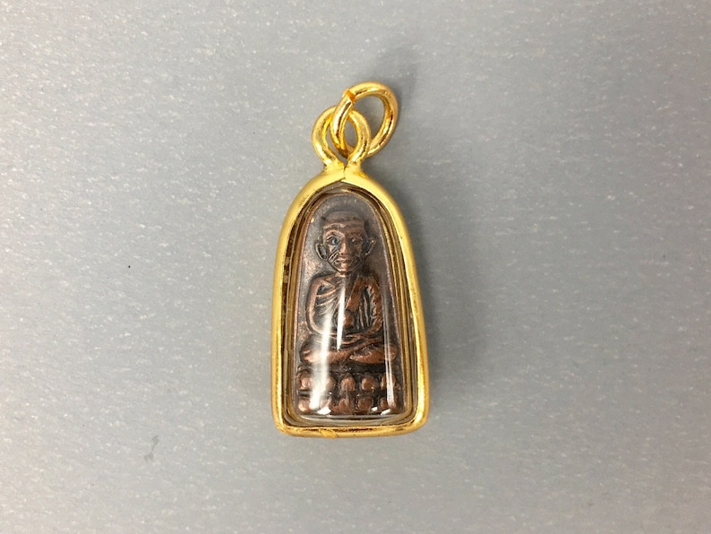 Thai Amulet Buddhist Legend LP Thuad Brass Statue Vintage Pendant Sacred Lucky