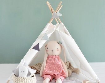doll playhouse Waldorf toys linen mouse tipi tent doll teepee tent mouse doll camping play set eco set Montessori toys