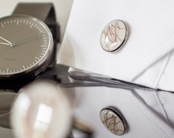 White Cufflinks | Elegant Look | Made from Resin
