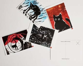 Original Cat Art Print Postcard Set • Colorful • Cat Lovers Gifts