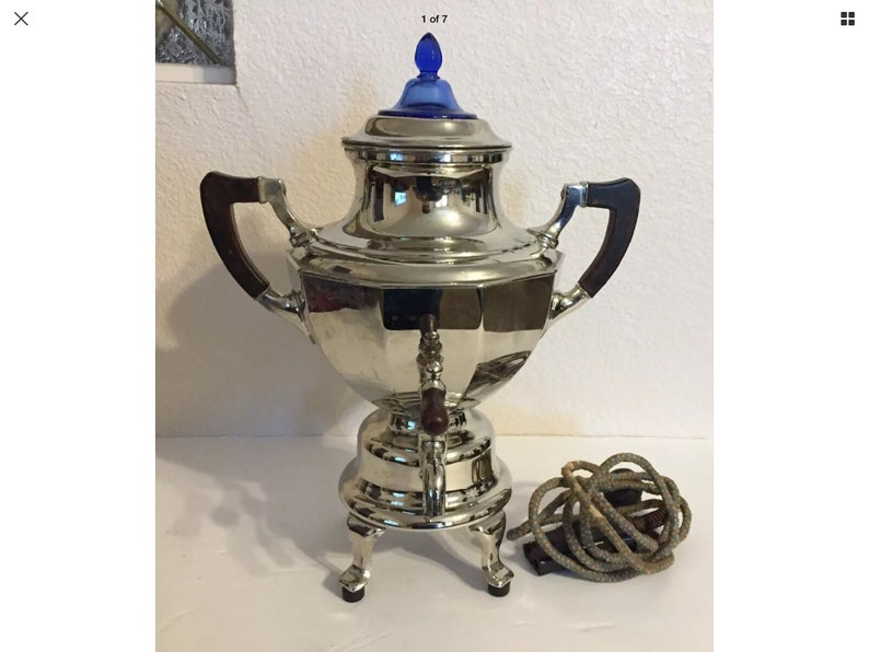 Shipped with USPS Priority Mail Vtg Condition is Used Manning Bowman Coffee Pot Urn Somavor Art Deco Would recommend replacing the cord