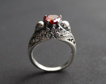 Sterling Silver Dark Gothic Skull Engagement Ring, Skull engagement ring,  Skeleton Ring