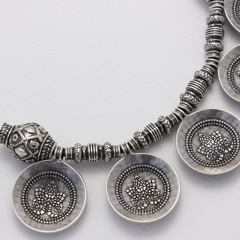 Silver plated Slavic ethnic necklace from Samite collection  medieval necklace  Valentines gift for girlfriend  Statement necklace