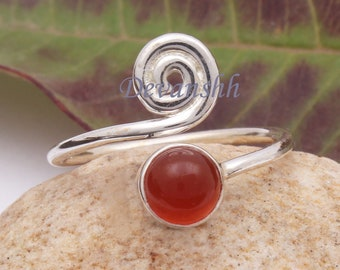 Silver Jewelry Gift for Her LOVELY Carnelian Ring 925 Sterling Silver Ring Gemstone Ring Handmade Ring Adjustable Ring Silver Ring