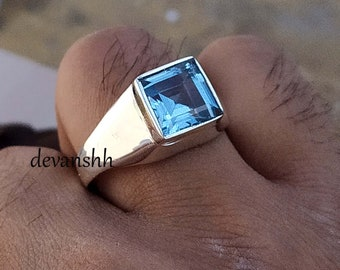 Details about  /Natural Blue Topaz Gemstone with 925 Sterling Silver Ring for Men/'s #3031