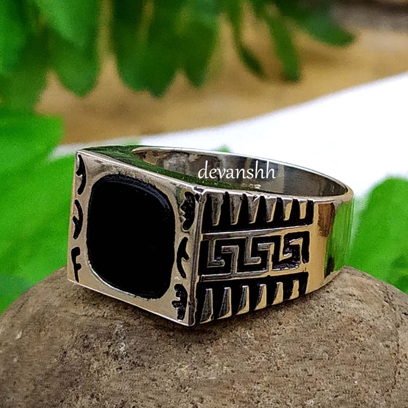 Men/'s Signet Ring Black Onyx Gemstone Ring Father/'s Day Gift Turkish Design Ring Vintage Ring Sterling Silver Ring Handmade Jewelry Rings