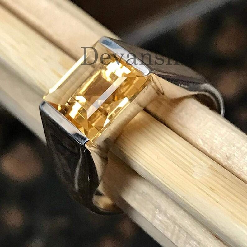 Citrine Men/'s Ring Signet Ring Natural Citrine Gemstone Ring Sale Solid 925 Sterling Silver Men/'s Ring Vintage Mens Ring Gift for Him
