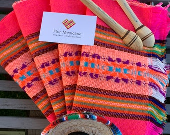 4 Mexican placemats Fabric Napkins table decorations Mexican party theme Colorful napkins Fiesta Day of the Dead decoration Tortilla warmer