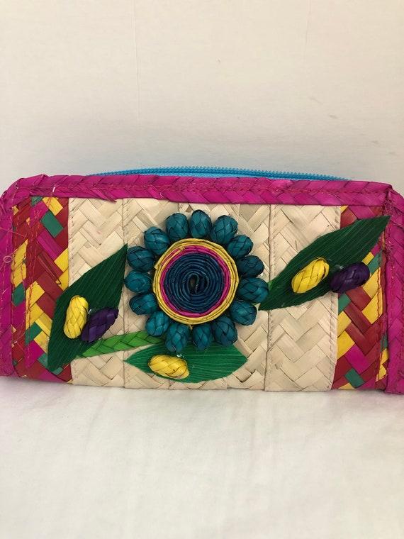 d2b89f626958 Straw clutch Mexican cartera Mexican wallet Artesanal wallet