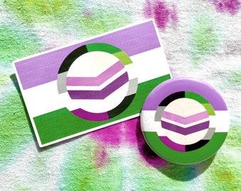 Custom Pride Flag Bundle // Sticker and Button Combo // LGBTQ+ Pride