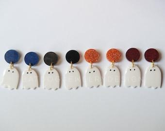 Ghost Dangle Earrings, Halloween Earrings, Pumpkin Spice, Pumpkin Earrings, Cute ghost, Polymer clay, Fall Trends, Small Dangle Earrings,