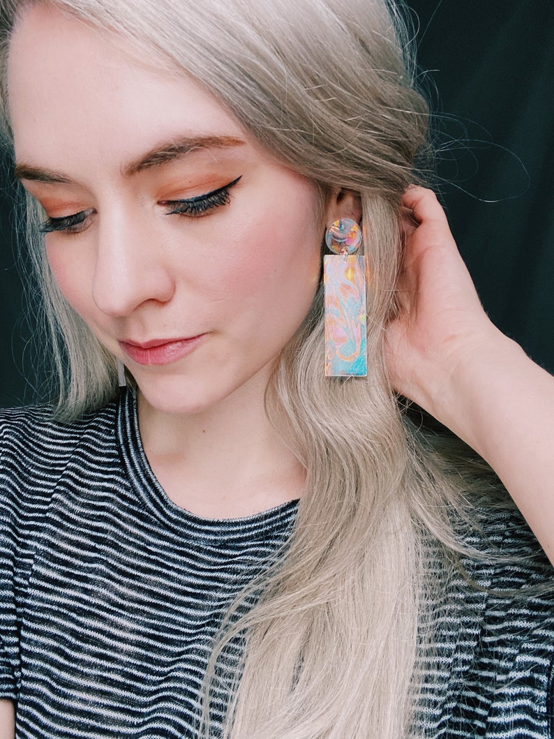 Iridescent summer earrings,Rave earrings,Teen girl gift,90s earring,Eclectic jewelry,Extra large earring,earrings for women,Festival earring