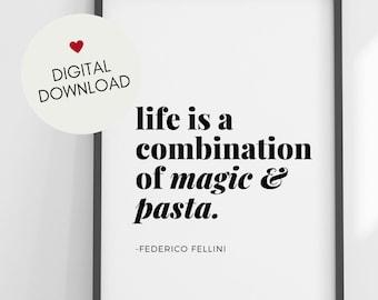 Magic & Pasta Printable Art - Fellini Quote - Printable Art for Italy lovers - Italy printable art - Minimalist Wall Decor
