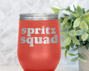 Spritz Squad Stemless Wine Tumbler - Spritz cup - Insulated Wine Tumbler - Aperitivo Time Cup