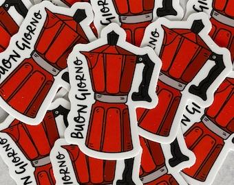 Red Moka Pot Sticker - Italy Hydro Flask Sticker - Italy Bumper Sticker - Waterproof Vinyl Sticker - Water Bottle Decal - Laptop Sticker