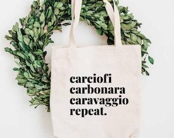 Rome Tote Bag - Carciofi, Carbonara, Caravaggio bag - Artichoke Bag - Eco Tote Bag - Italy lovers Gift - Foodie Gift
