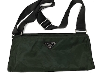 c0d375459634 Vintage Aunthentic Prada Olive Green Nylon Side Bag