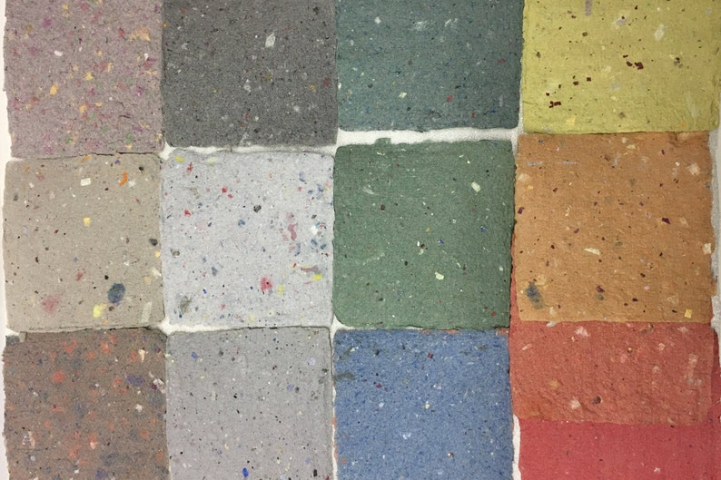 natural paper handmade 13 sheets size 11 x 11 cm Tweed paper various pastel colours