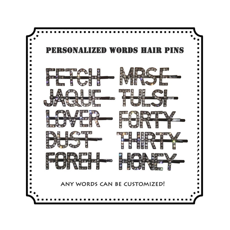 f3a5b5d6cb8 Custom Word Hair Pins Personalized Letters