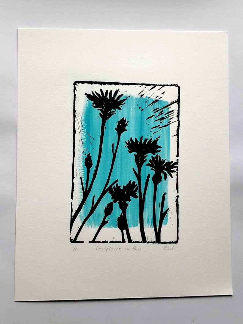 Cornflowers in Blue Lino Print