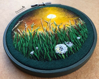 Embroidery floral wall art, mixed media art, embroidered painting