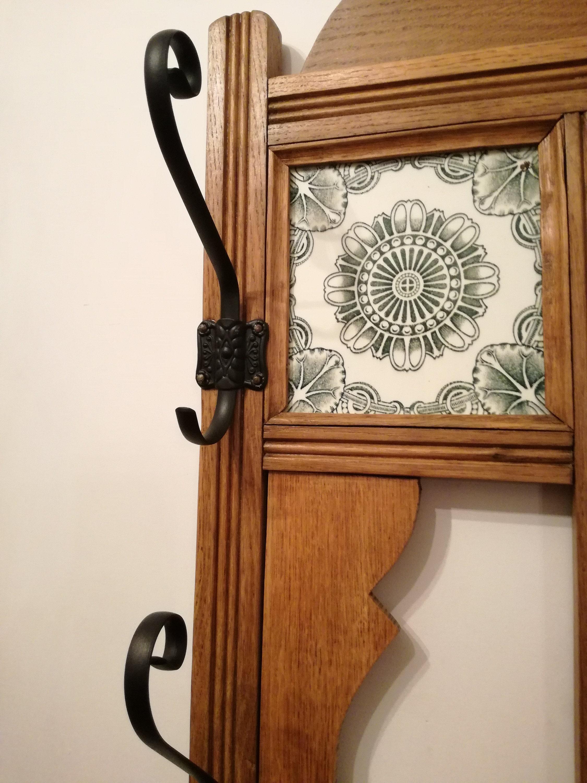 Wall Hanger Wooden Mirror Vintage 5 Hooks Etsy