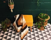 Vintage Granny Blanket , Brown Crochet Knitted Afghan , Woollen Throw