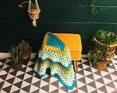 Vintage Granny Blanket , Blue Mustard Crochet Knitted Afghan , Woollen Throw