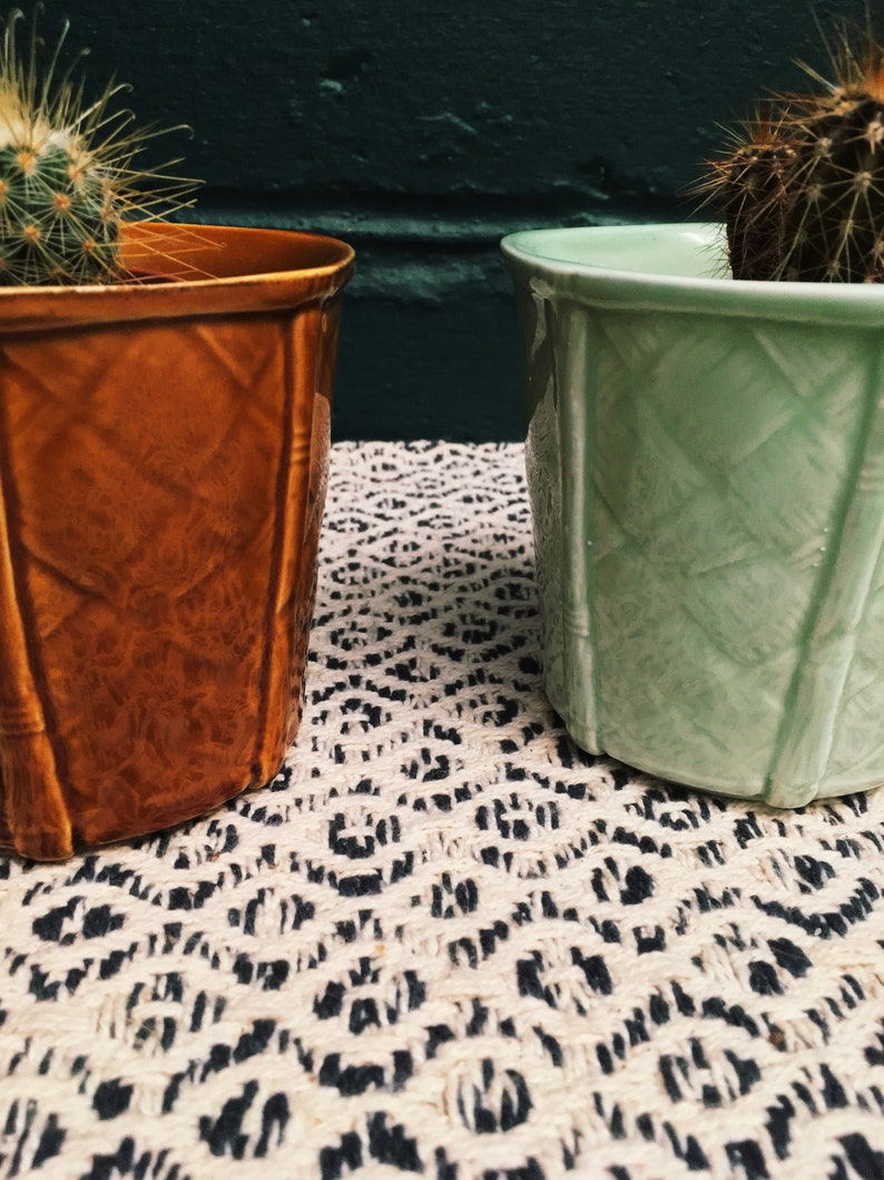 Set Of 3 Vintage Mint Green And Brown Ceramic Planter Churchill Small Succulent Basket Weave Pottery Plant Pot Mid Century Decor