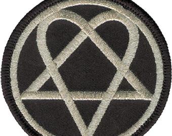 163d4891c7c Him iron sew on patch round silver heartagram logo new rare