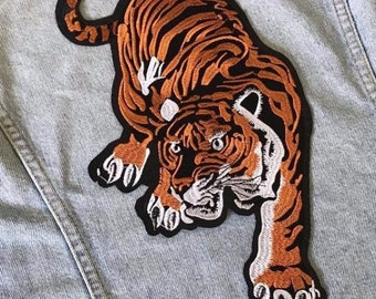 b0ba0c2d3a1 X-Large Tiger Big Cat Embroidered Iron Sew On Patch Applique Badge New