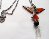 Thunderbird Diffuser Necklace, Copper Enamel with Lava Stone and Quartz Crystal makes a Unique Aromatherapy Jewelry Gift