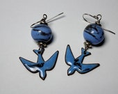 Copper Enamel Blue Bird Dangle Earrings,  Unique Kiln Fired Artisan Statement Jewelry Gift