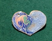 Copper Enamel Blue Heart Pin, Unique, one of a kind, Kiln Fired Artisan Jewelry Gift