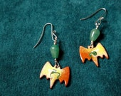 Copper Enamel Yellow and Green Bat Dangle Earrings with Aventurine gemstone, Unique Kiln Fired Artisan Statement Jewelry Gift
