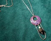 Purple Copper Enamel Essential Oil Diffuser Necklace with Lava Stone and Mother of Pearl makes a Unique Artisan Aromatherapy Jewelry Gift