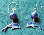 Blue Dolphin Earrings, Copper Enamel with LLapis and Pearl  makes a Unique Artisan Jewelry Gift