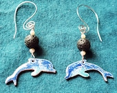 Blue Dolphin Essential Oil Diffuser Earrings, Copper Enamel with Lava Stone makes a Unique Artisan Aromatherapy Jewelry Gift