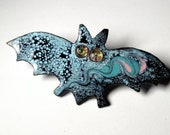 Black and Blue Kiln Fired Copper Enamel Bat Pin makes a Unique Artisan Jewelry Gift