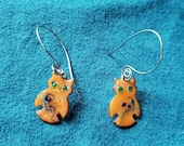 Brown Owl Copper Enamel Earrings