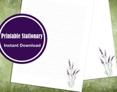 Printable Letter Writing Paper Stationery Watercolor Lavender Stationery Lined and Unlined Digital Download