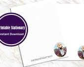Letter Writing Printable Paper Stationary Watercolor Girl in Lavender With Comforting Scripture Lined and Unlined Digital Download