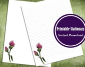 Printable Watercolor Thistle Stationery  Lined and Unlined Letter Writing Paper Digital Download