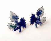 Blue and White Copper Enamel Leaf Stud Earrings, Unique Gift, Unique Kiln Fired Artisan Statement Jewelry Gift