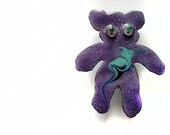 Purple Kiln Fired Copper Enamel Teddy Bear Pin makes a Unique Artisan Jewelry Gift