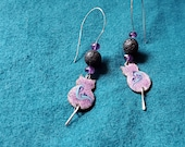 Purple Cat Essential Oil Diffuser Earrings, Copper Enamel with Lava Stone and Amethyst makes a Unique Artisan Aromatherapy Jewelry Gift